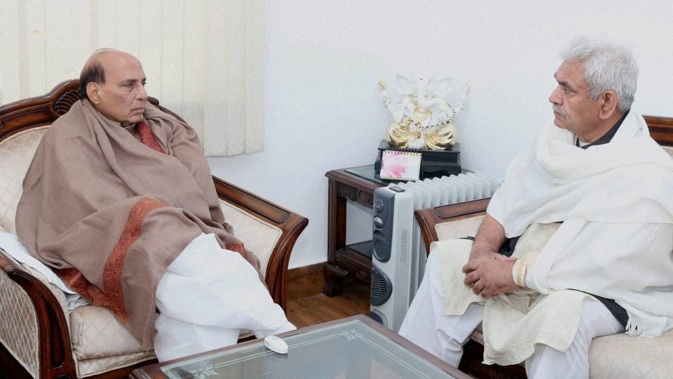 Uttar Pradesh BJP chief Keshav Prasad Maurya, Union minister Rajnath Singh (left) and Manoj Sinha (right) are in contention for the chief minister's post in the state.