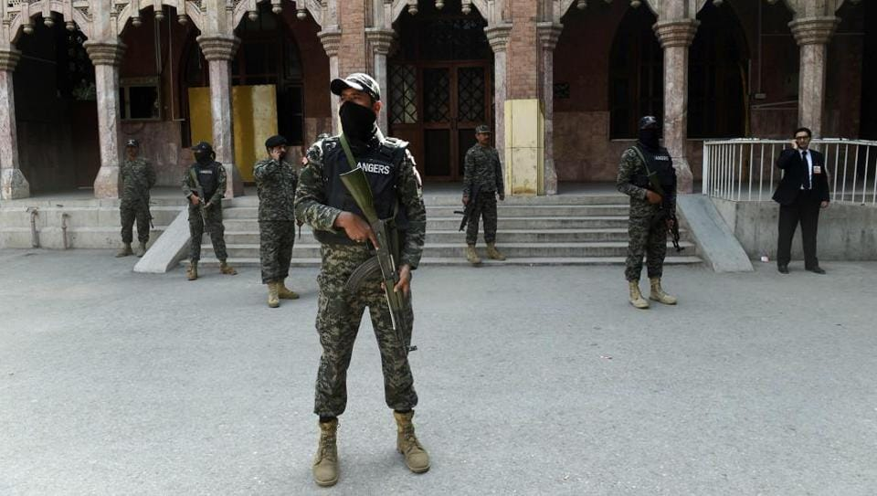 Pakistani Rangers stand guard during the Lahore High Court Bar elections in this representative file photo from February.