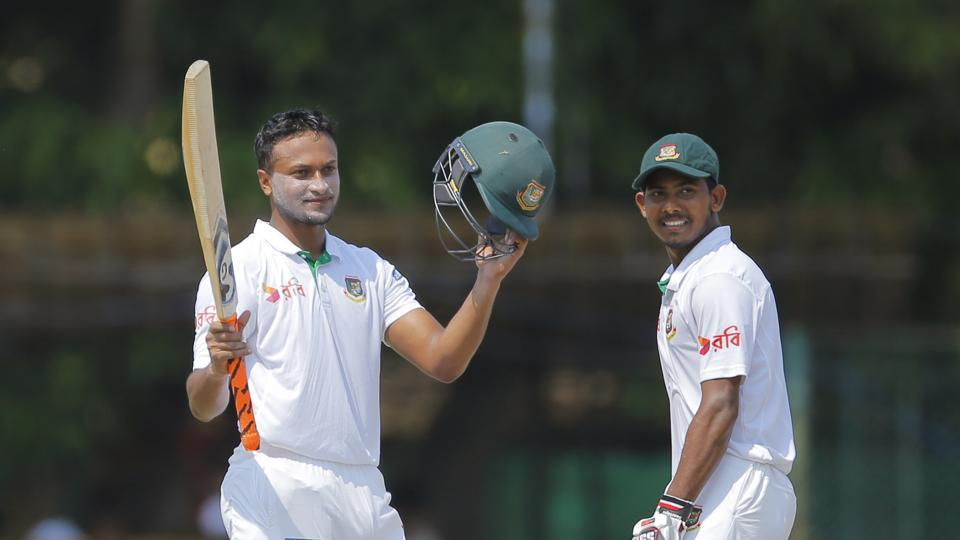Shakib Al Hasan notched up his fifth Test century as Bangladesh were on top in the Colombo Test against Sri Lanka.