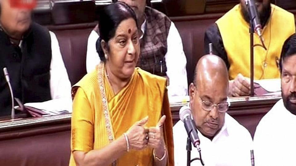 External Affairs Minister Sushma Swaraj speaks in the Rajya Sabha in New Delhi.