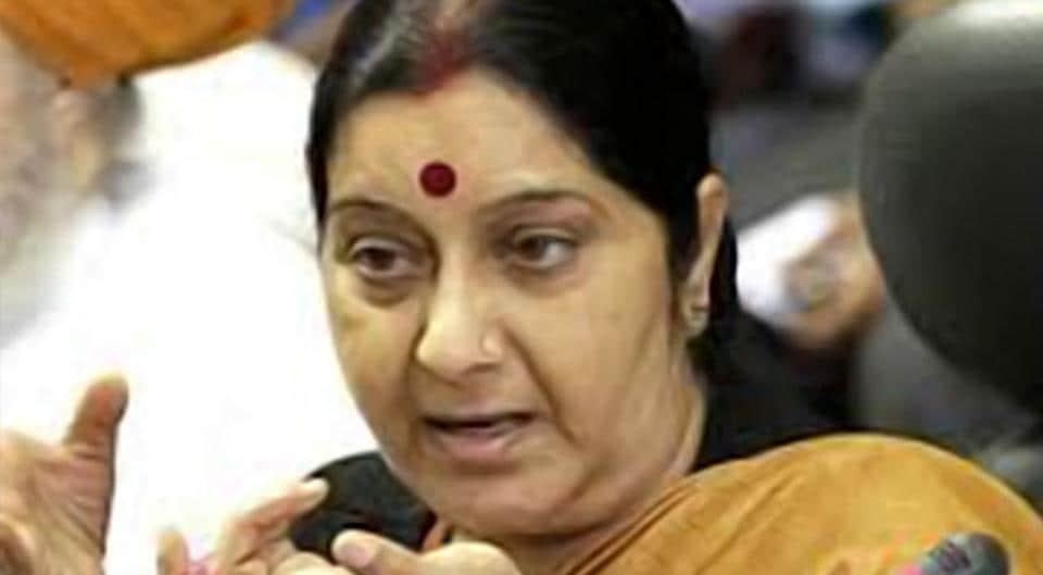 External affairs minister Sushma Swaraj has asked for a report from the high commission  about a woman from Hyderabad who is stranded in Pakistan.