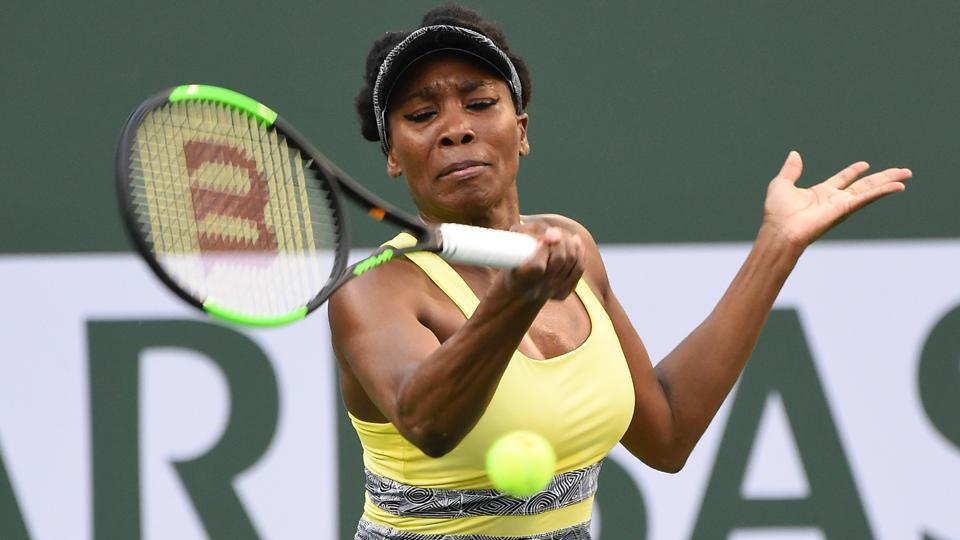 Venus Williams in action during the quarter final match against Elena Vesnina in the Indian Wells Masters.