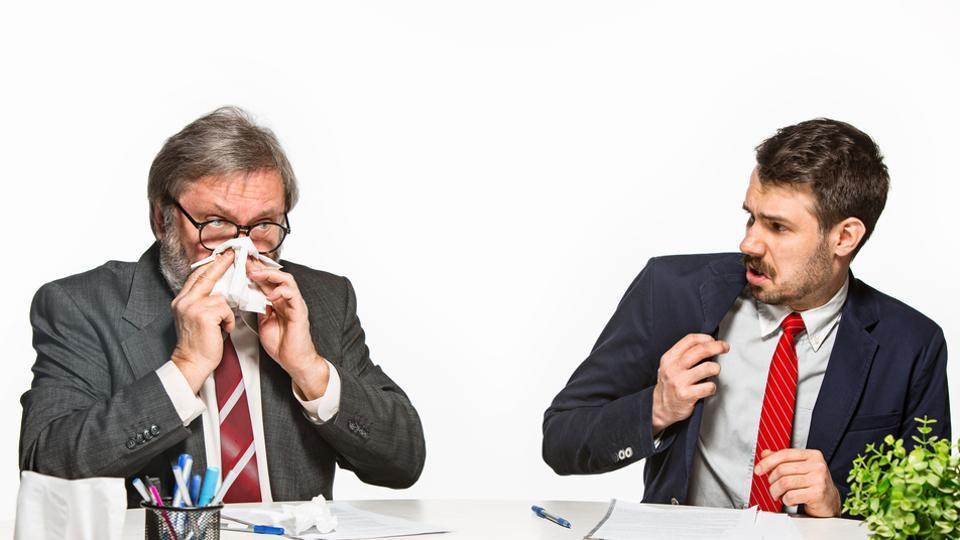 To avoid infecting other people, perceptive sick persons were more likely to stay home from work or cover their cough.