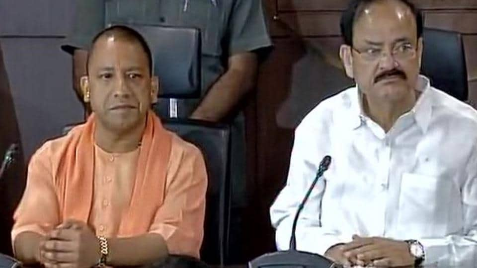 Union minister Venkaiah Naidu announces Yogi Adityanath, Lok Sabha MP from Gorakhpur, as the BJP's legislature party leader in UP, effectively making him the new chief minister.