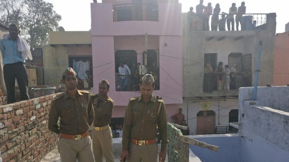 Police at the house of Ashok, a plumber in Rasoolpura area near the Cantonment railway station, where a blast occurred.