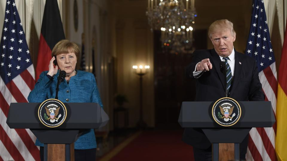 US President Donald Trump takes a question as he and German Chancellor Angela Merkel hold a joint press conference in the White House in Washington DC on Friday.