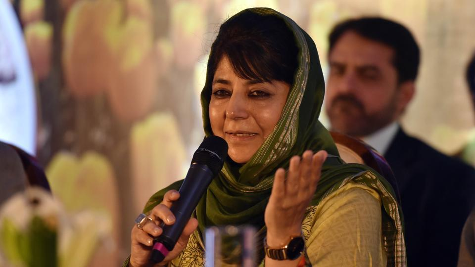 Mehbooba Mufti, chief minister of Jammu and Kashmir during an event at Juhu in Mumbai to promote tourism in the state.