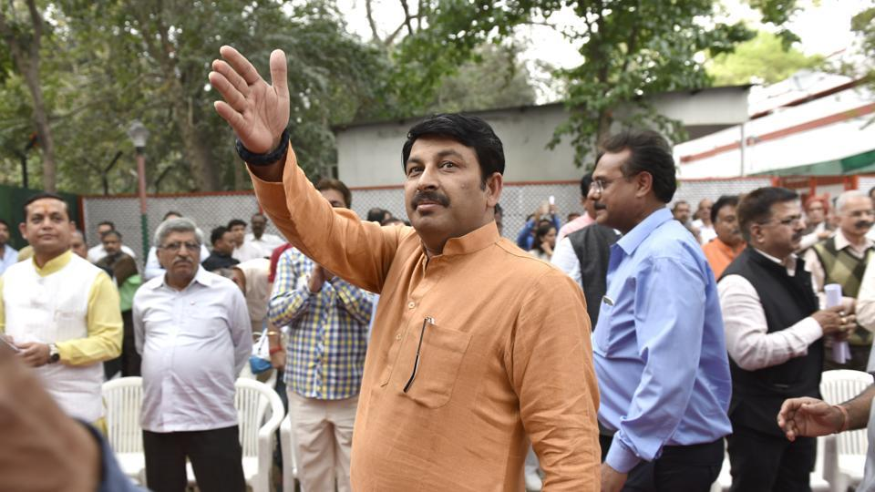 BJP Delhi State president Manoj Tiwari during the monthly meeting with workers in New Delhi, India on Thursday.