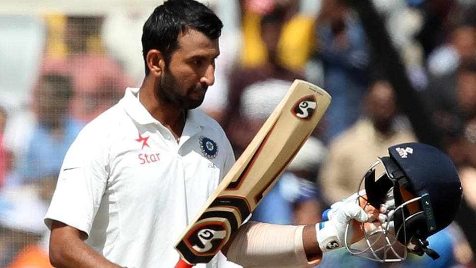 Cheteshwar Pujara of India celebrates after reaching his century against Australia in Ranchi. (BCCI)