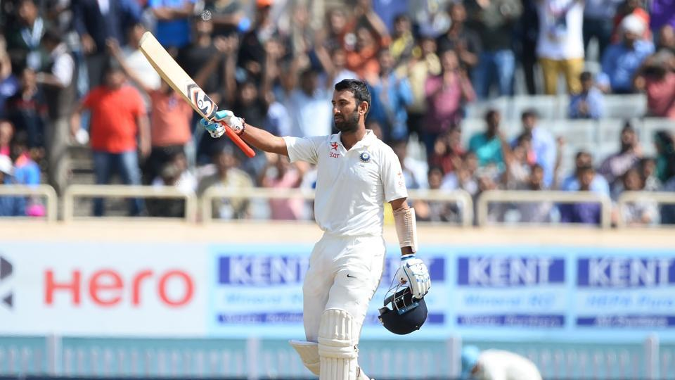 Cheteshwar Pujara slammed his 11th Test century and he became the first Indian batsman to score a century in the current series against Australia.