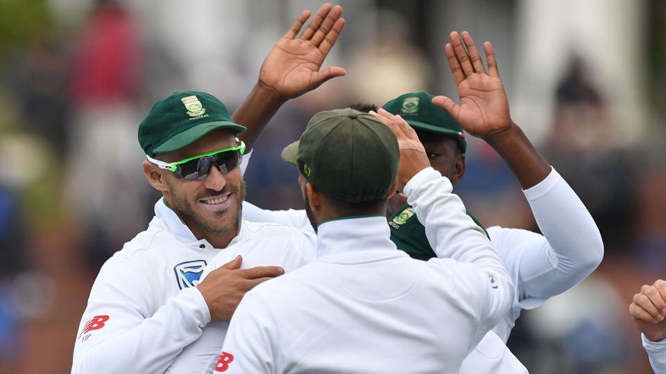 South African players celebrate a wicket on the third day of the second Test against New Zealand on Saturday.