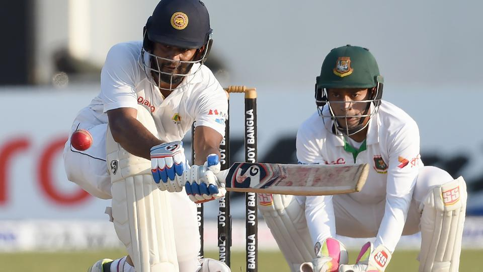 Dimuth Karunaratne fell for 126, his fifth Test century as Sri Lanka ended day 4 on 268/8, a lead of 139 runs against Bangladesh. Get full cricket score of Sri Lanka vs Bangladesh here.