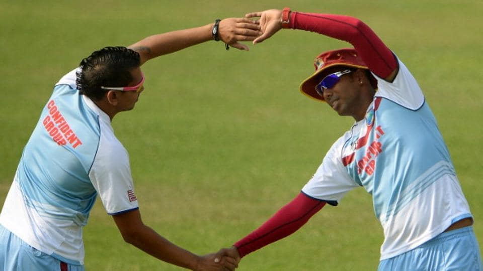 Trinidad players Samuel Badree (right), Sunil Narine, Kieron Pollard (not in pic) and  Lendl Simmons (not in pic) have been largely overlooked for the West Indies ODI matches, but will play the first two of the four-match series against Pakistan cricket team.