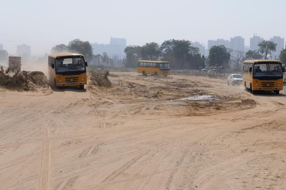 An incompleted patch of Northern Peripheral Road near Sector 84 A.