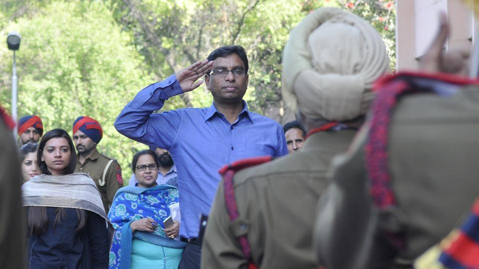 New deputy commissioner Pradeep Aggarwal saluting the guard of honour in Ludhiana on Friday.