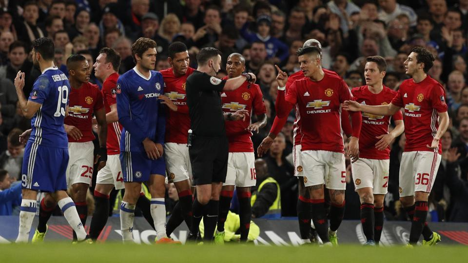 Manchester United's Ander Herrera was sent off by referee Michael Oliver during their fiery FA Cup quarterfinal clash against Chelsea.