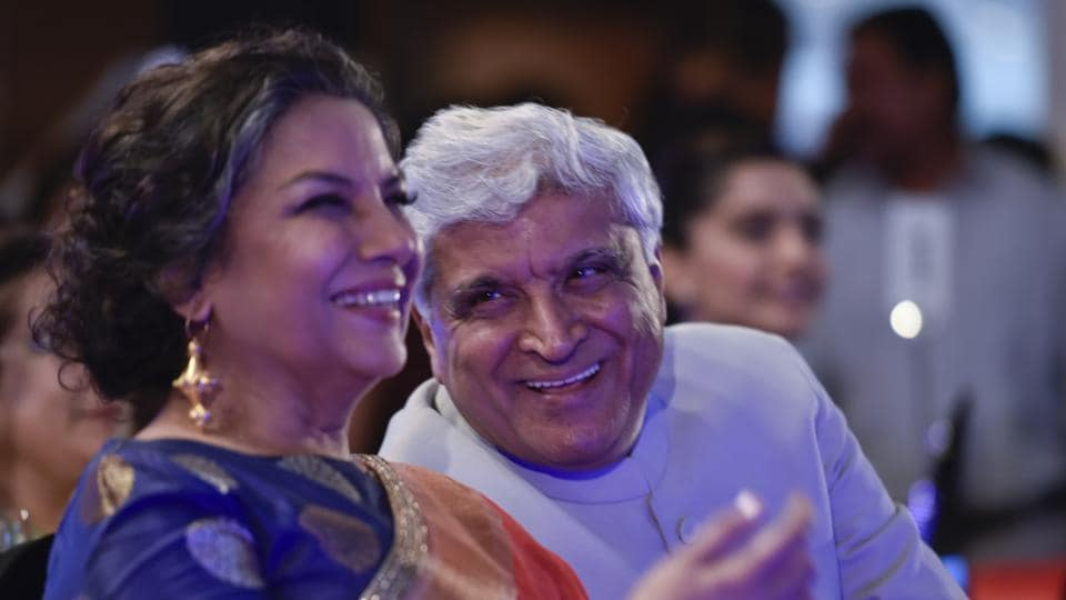 Lyricist Javed Akhtar  with his wife, actor Shabana Azmi, at the do. (Satish Bate/ HT Photo)