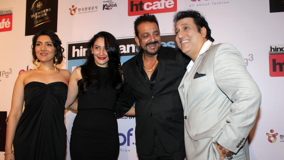 From right: Govinda, Sanjay Dutt, his wife Manyata, and Govinda's daughter Tina Ahuja pose together at the red carpet at Taj Lands End in Mumbai on March 20, 2016 (Shakti Yadav/ HT Photo)