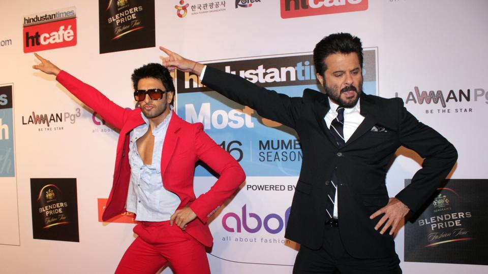 Actors Ranveer Singh and Anil Kapoor shake a leg on the red carpet, because, why not? (Shakti Yadav/ HT Photo)