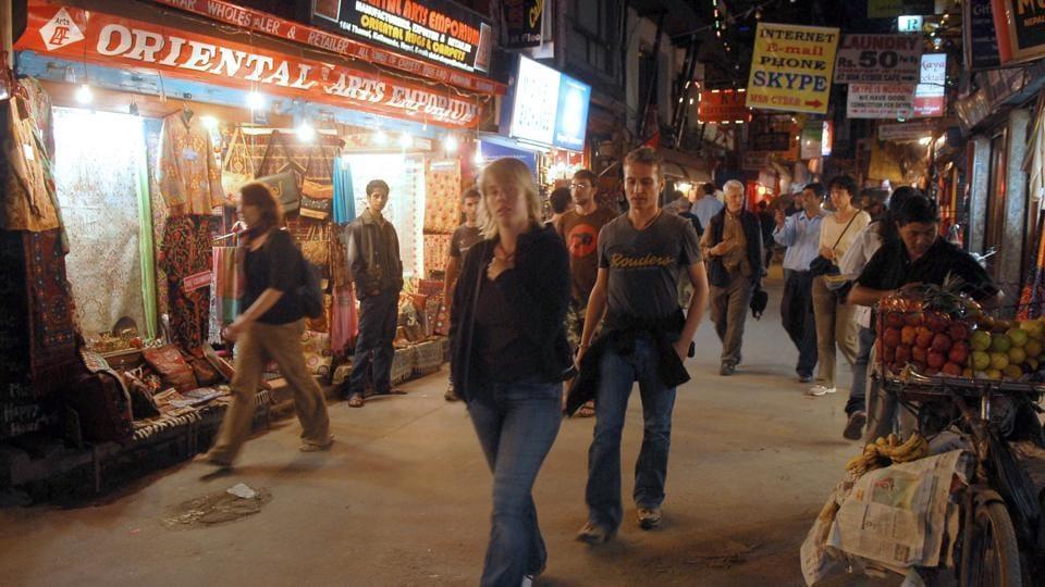 Tourists walk through Thamel in Kathmandu in October, 2008.