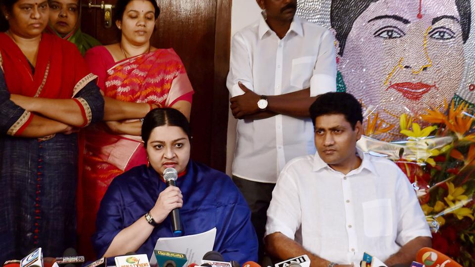 Late J Jayalalithaa's niece Deepa Jayakumar with her husband speaks at a press conference at the launch of her new party