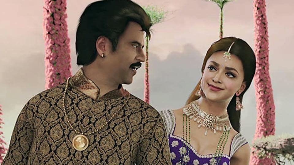Rajinikanth and Deepika Padukone in a still from Kochadaiiyaan.