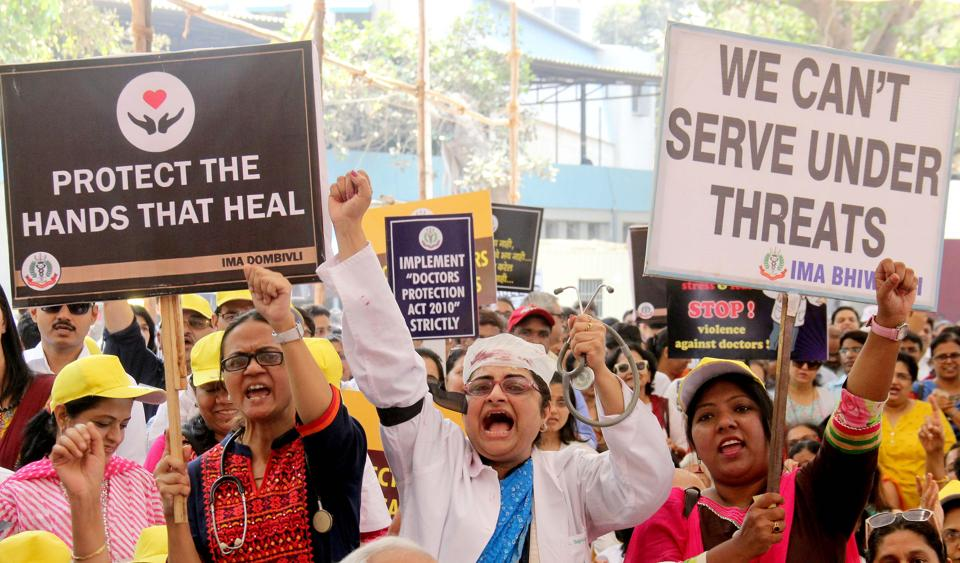 Doctors protest against the attack on a resident doctor in Dhule Civil Hospital in Mumbai on Friday.