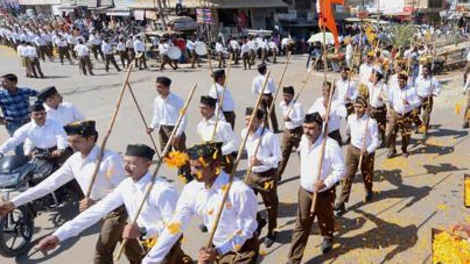 RSS workers marching in Beawar, Rajasthan.