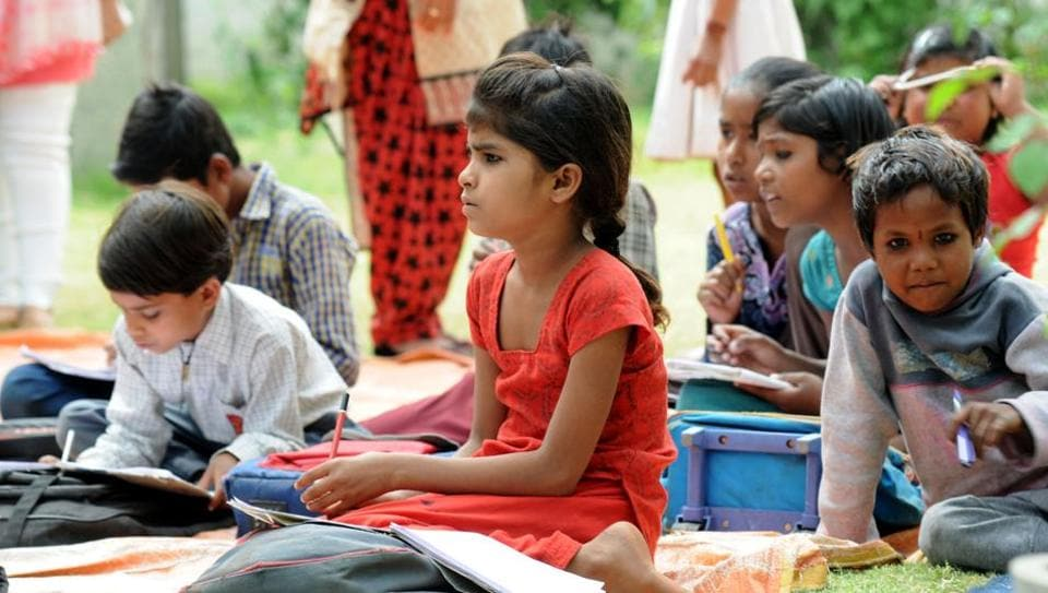 Children in the age group of six to 16 years attend classes at the open school.