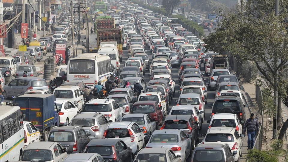 Various spots in Noida face traffic congestion during peak hours.