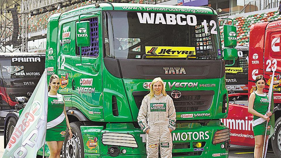 Stephanie Halm from Germany during the first round of the T1 Prima truck racing championship.