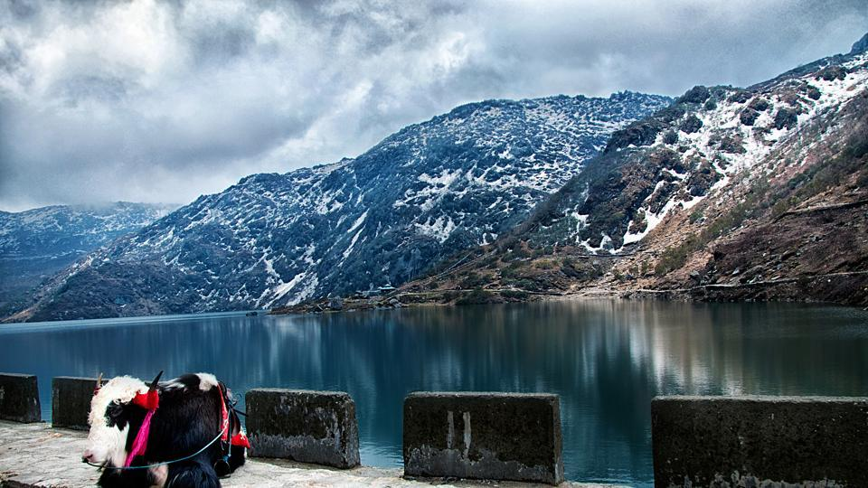 The Tsomgo lake is located at an altitude of approximately 12,400ft and freezes during winters.