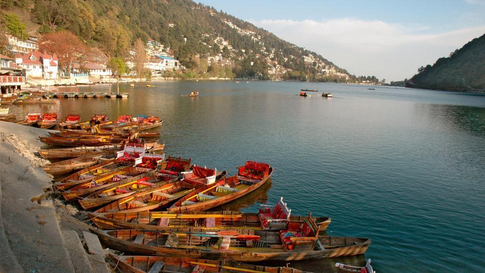 View of boats on lake, Nainital, Uttarakhand, India.