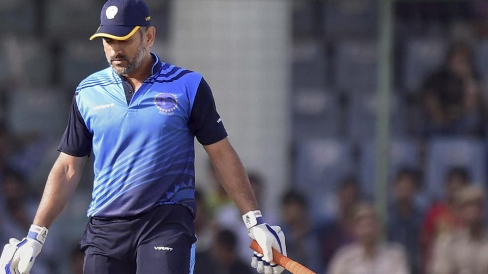 Jharkhand cricket team captain M S Dhoni gets bowled in their Vijay Hazare Trophy semifinal match against Bengal cricket team in New Delhi on Saturday