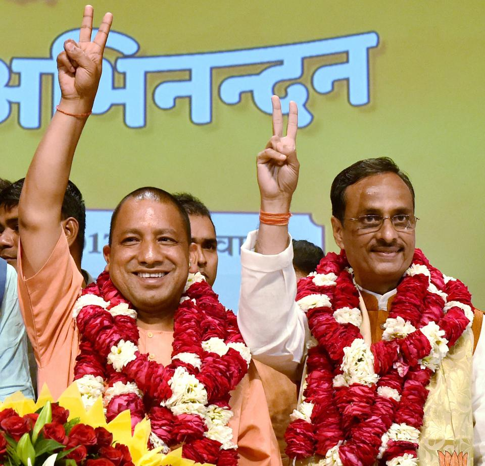 Yogi Adityanath (L) after being elected as the BJP legislature party leader in Lucknow on Saturday.
