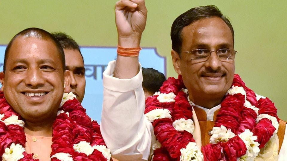 Yogi Adityanath (left) and Dinesh Sharma after the announcement of UP's new CM and deputy CM in Lucknow on March 18, 2017.