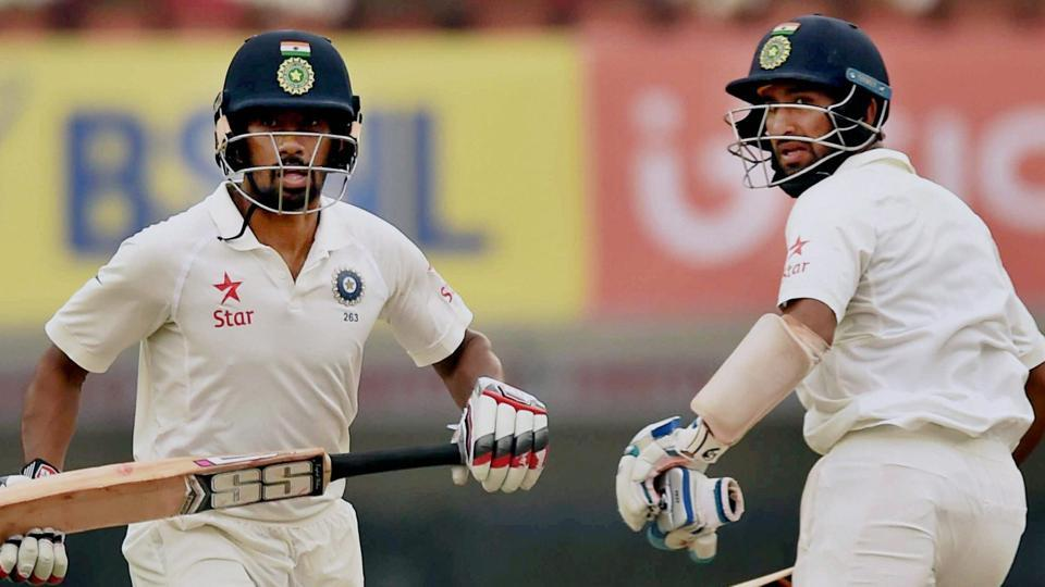 Wriddhiman Saha and Cheteshwar Pujara in action during India vs Australia Test inRanchi. Catch Day 4 highlights of India vs Australia here.
