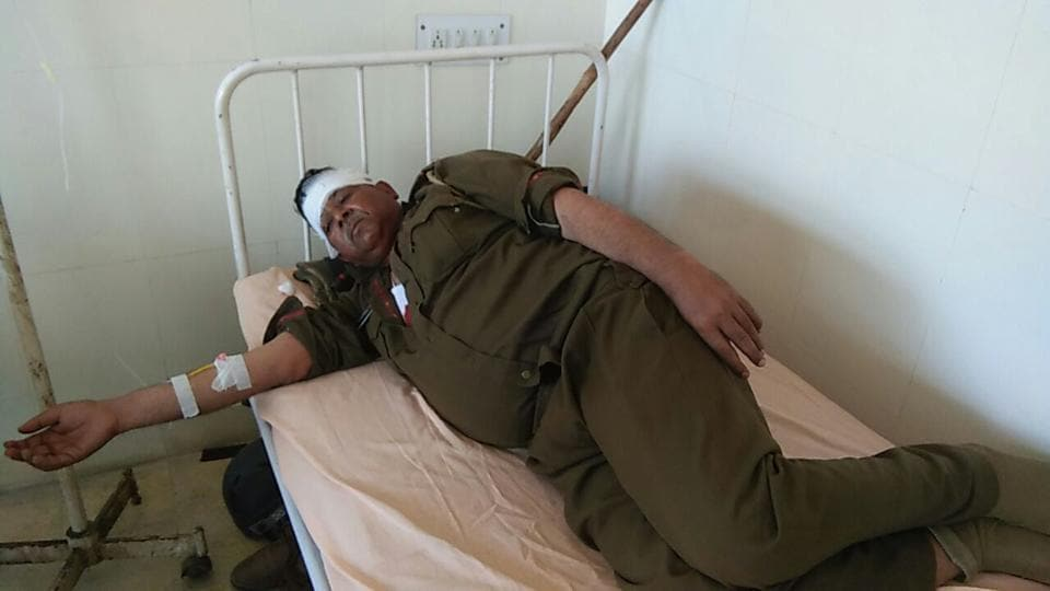 DSP Gurdayal Singh, who was injured in clashes, at Bhuna hospital.