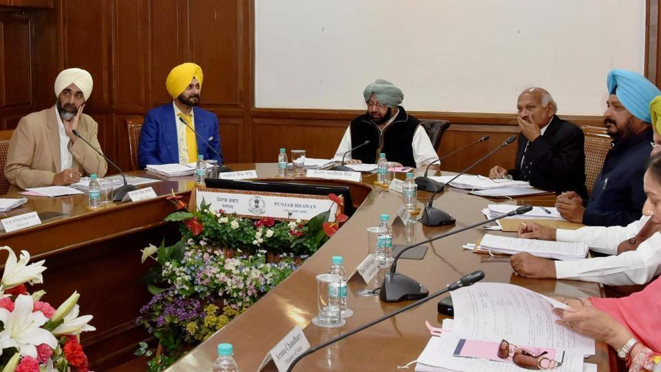 Punjab chief minister Captain Amarinder Singh presiding over the Cabinet meeting at Punjab Bhawan, in Chandigarh on Saturday.