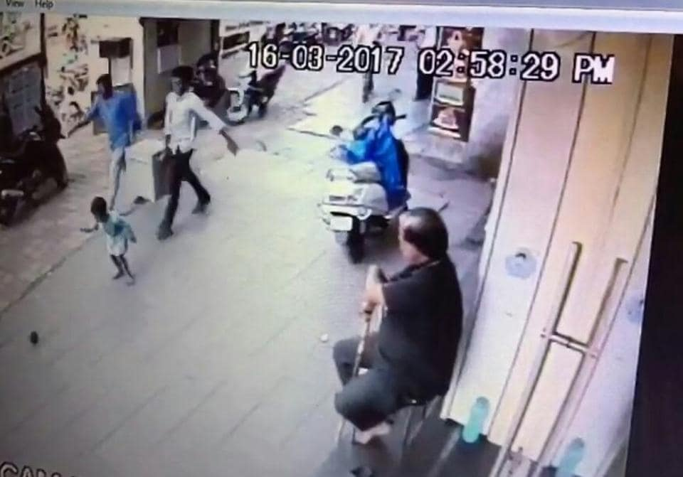 The CCTV footage from a shop in the vicinity.