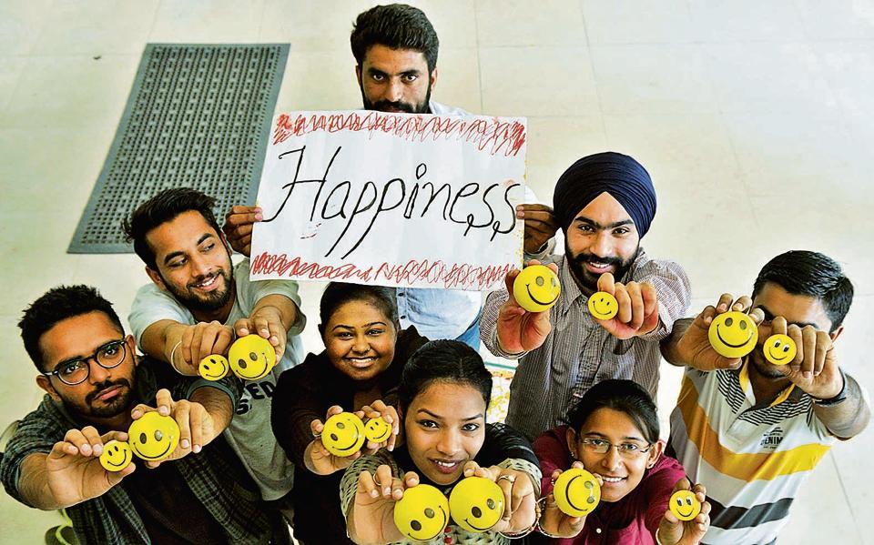 Students of Panjab University mark International Happiness day, Chandigarh, March 19, 2017