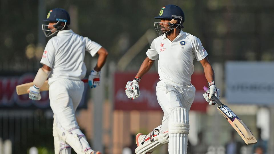 Cheteshwar Pujara (left) and Wriddhiman Saha were involved in a 199-run stand for India against Australia on Day 4 of the third Test in Ranchi. Get cricket score of India vs Australia here.