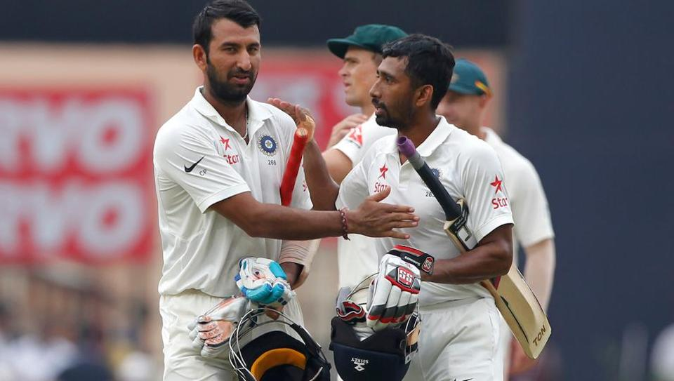 Cheteshwar Pujara and Wriddhiman Saha were involved in a 199-run stand for India against Australia in the third Test in Ranchi.