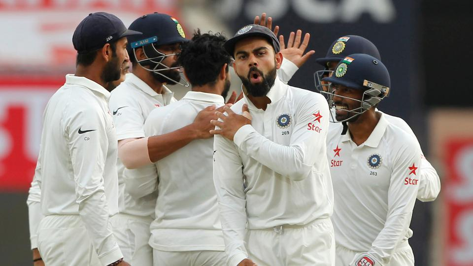 Virat Kohli celebrates the dismissal of David Warner with teammates during Day 4 of the third Test between India and Australia in Ranchi on Sunday.