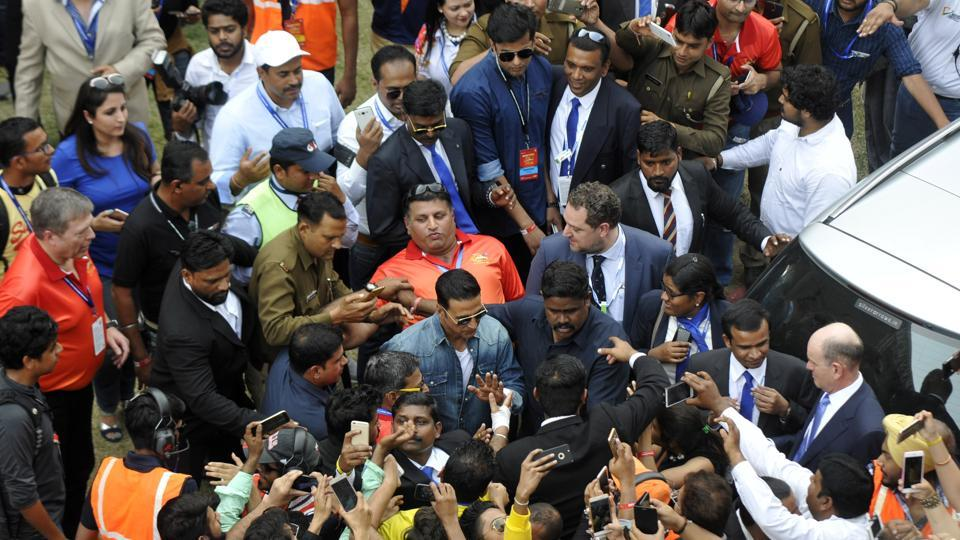 Bollywood star Akshay Kumar during the  TATA prima race at Budh international circuit, in Greater Noida.