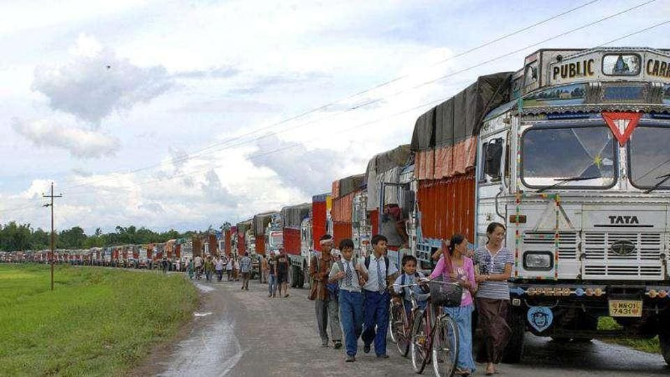 The economic blockade in Manipur was  imposed by the Naga groups on November 1 to protest against the creation of seven new districts in the state.