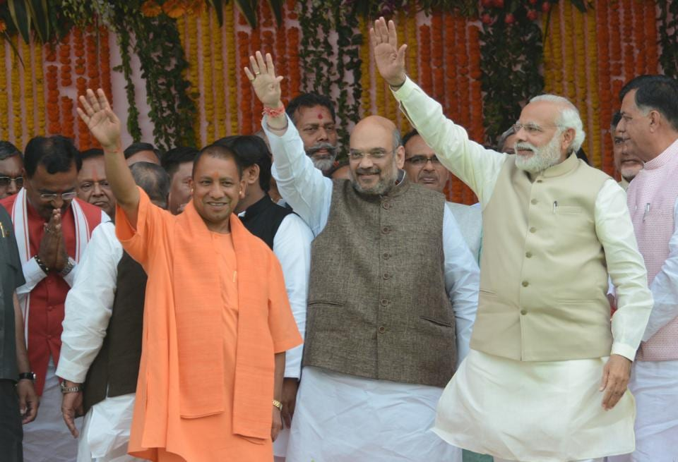 BJP chief Amit Shah and Prime Minister Narendra Modi at the swearing-in ceremony of Uttar Pradesh chief minister Adityanath.