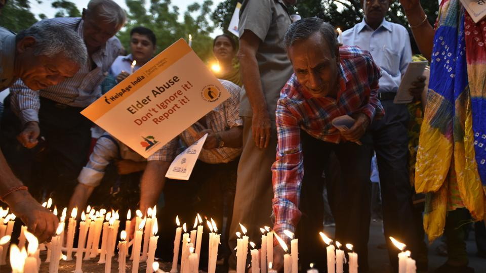 Candle light vigil by senior citizen associations of Delhi, during the World Elder Abuse Awareness Day at Jantar Mantar in this file photo from 2016.