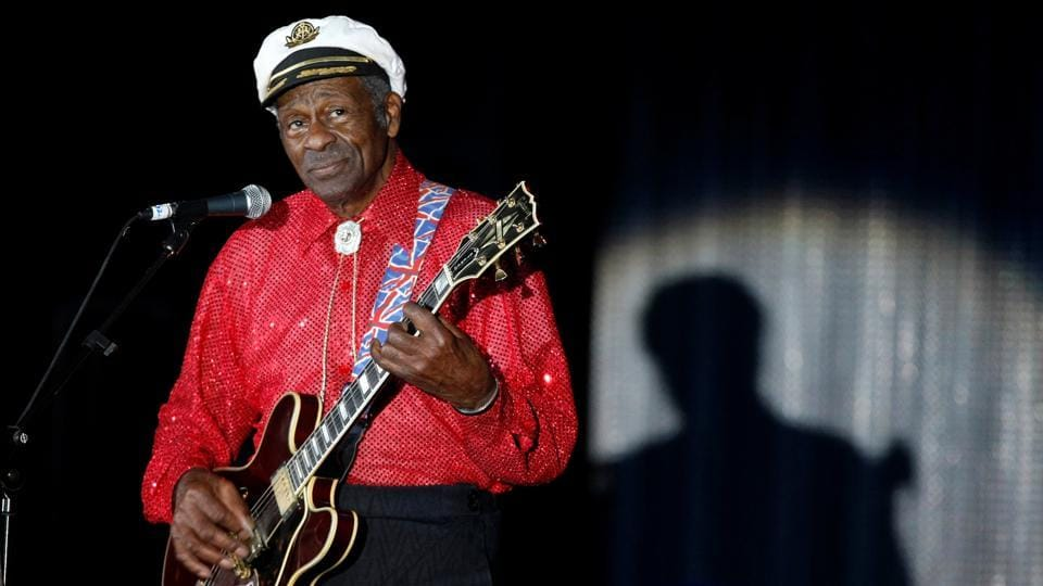 Rock n' roll legend Chuck Berry performs during the Bal de la Rose in Monte Carlo, Monaco, on March 28, 2009.