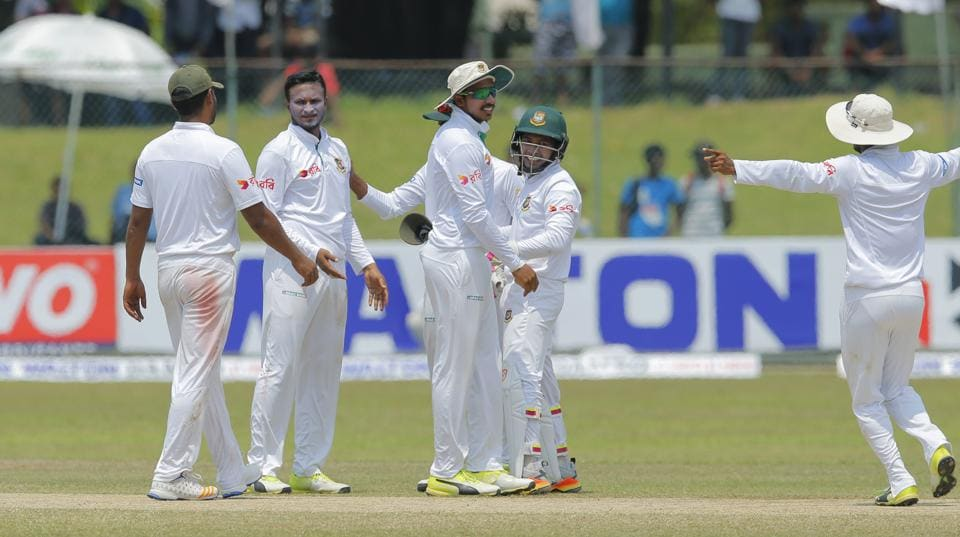 Shakib Al Hasan smashed a century and picked up six wickets in the Colombo Test as Bangladesh recorded their first-ever win over Sri Lanka.